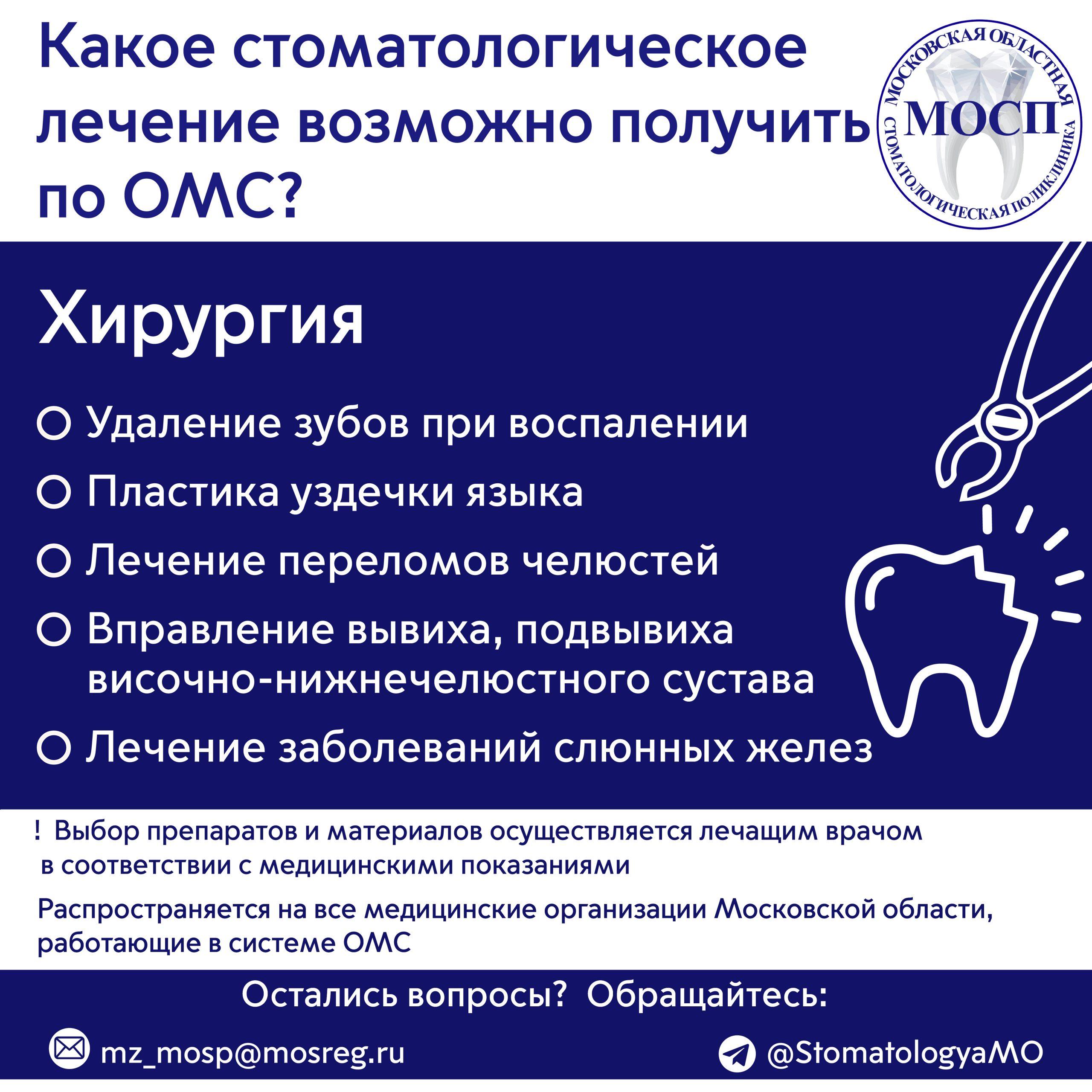 Памятка стоматология ОМС Хирургия